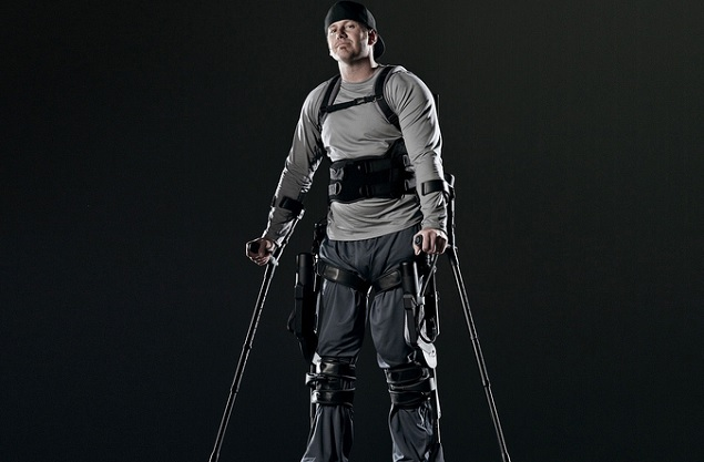 """Paul Thacker became a tester of the Ekso """"exoskeleton"""" device after a snowmobile accident left him partially paralyzed."""